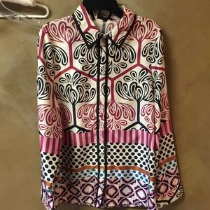 Anthropologie Lulumani Patterned SilkPoly Blouse-M